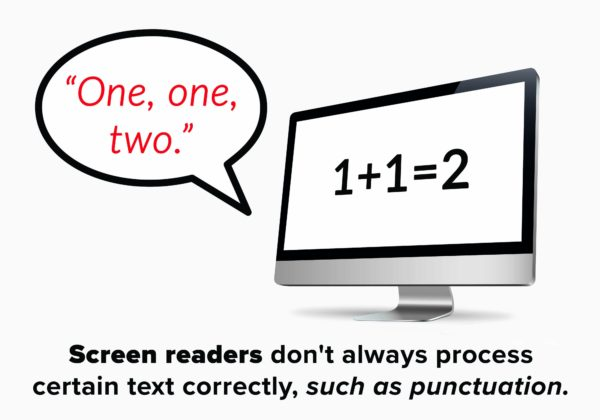 Screen readers don't always process certain text correctly, such as punctuation.